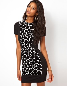 Giraffe Flock Cut-Out Dress