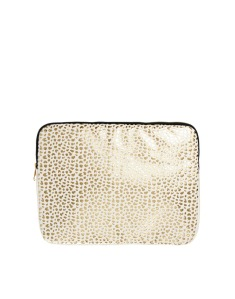 Laptop Case With Leopard And Metallic Cut Out Detail